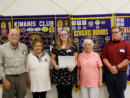 The Manitowoc Golden K Kiwanis Club recently honored University of Wisconsin-Manitowoc sophomore Taylor Jurgens with a $500 scholarship award for her 2016-2017 academic year. The award was presented in memory of George Zimmerman, a long-time club member and educator. Present at the ceremony were, from left, scholarship chairman Dave Estes, Kiwanis president Diana Reynolds, Jurgens, George's wife Dorothy Zimmerman and Jurgens' classmate and friend Chris Keith.