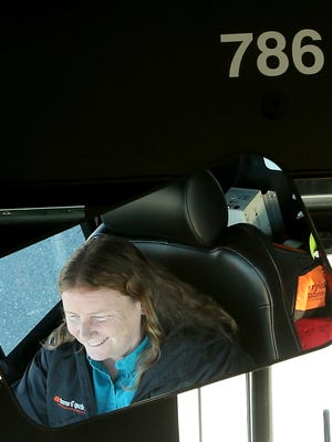 Kitsap Transit driver Valerie Quill drives her Silverdale route Wednesday.