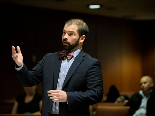 Assistant prosecutor Jeremy Lackey addresses the court during a detention hearing for Austin F. Cooper, 21, of Willingboro Wednesday, April 18, 2018 at Burlington County Superior Court in Mount Holly, N.J. Cooper, who is charged with strict liability for an opioid-induced death of 15-year-old Madison McDonald of Marlton, will remain detained.