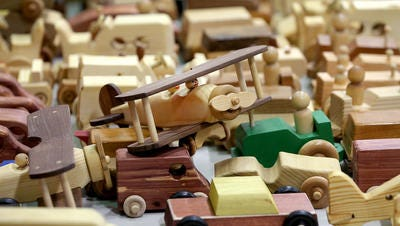 Wooden toys created by volunteers with the Central Indiana Woodworkers are ready to be given out at Mary Rigg Neighborhood Center.