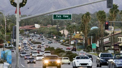 This Desert Sun file photo shows traffic on Highway 111 at Parkview Drive in Rancho Mirage. The section is undergoing a rehabilitation project beginning Monday. Work will last into September.