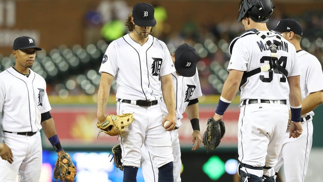 Detroit Tigers Daniel Norris is taken out of the game during fifth inning action against the Seattle Mariners Wednesday, April 26, 2017 at Comerica Park in Detroit.