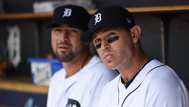 Nick Castellanos, left, is staying with the Tigers but Ian Kinsler will play with former Tiger Justin Upton next season after his trade to the Angels on Wednesday.