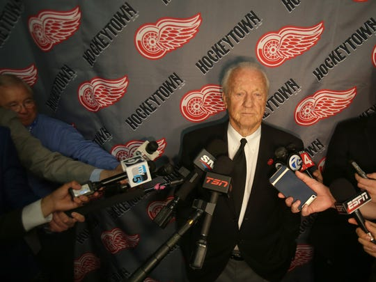 Detroit Tigers legend Al Kaline talks with members of the media inside Joe Louis Arena in Detroit, Michigan about what Gordie Howe meant to him.