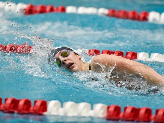 Eastern York's Madison Nalls swims the 200-yard freestyle for a second-place finish in the District 3 Class 2A girls swimming championships Friday, March 3, 2017, at Cumberland Valley High School.