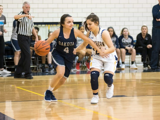 Port Huron Northern's Madison Adair (right) defends