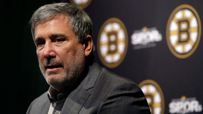 Boston Bruins President Cam Neely speaks to reporters during the hockey teams end-of-season news conference, Tuesday, June 18, 2019, in Boston. The Bruins lost to the St. Louis Blues in Game 7 of the NHL hockey Stanley Cup, Wednesday, June 12, 2019, in Boston.
