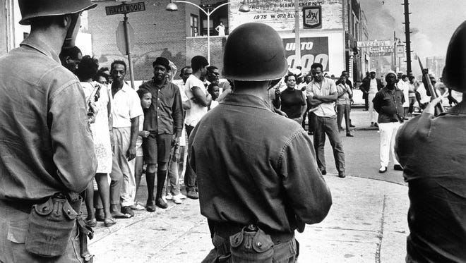Troops on Linwood Avenue in Detroit, during the July 1967 riots.