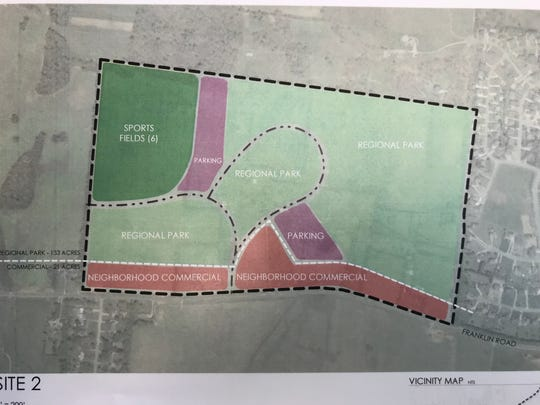 This rendering shows an alternative park plan on Franklin Road for the Murfreesboro City Council. The city could build a community park on 154 acres on a Franklin Road that's also part of state Route 96 instead of using all 119 acres for a Blackman Park off Interstate 840 and Veterans Parkway. City officials could pursue commercial development, including a hotel, and a 16-field soccer park that would be leased for weekend tournaments by the Tennessee State Soccer Association.