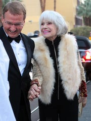 Carol Channing is seen arriving at the Palm Springs International Film Festival gala with friend Gary Hall  January 2015 outside the Palm Springs Convention Center.