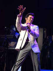 Elvis tribute artist Cote Deonath of Tampa performs during the Ultimate Elvis Tribute Artist Contest at the Nashville Elvis Festival in Franklin, Tenn., on March 31, 2017.