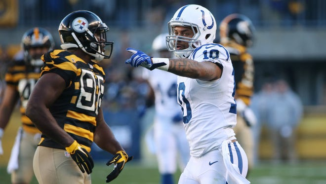 Indianapolis Colts Donte Moncrief points to fans after a long pass reception in the second quarter against the Steelers. Indianapolis traveled to Pittsburgh Sunday, October 26, 2014.