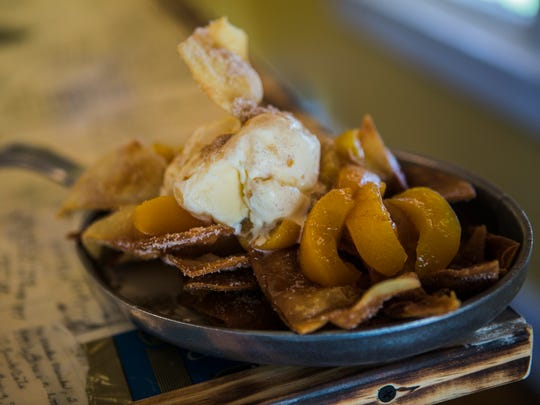 September 22, 2017 - Peach cobbler nachos at Chef Tam's