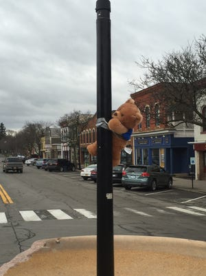 A teddy bear is doing stand-in duty in Geneseo for the bear statue that was accidentally knocked off its perch.