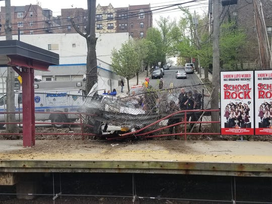 A car crashed onto the platform of the Fleetwood Metro-North