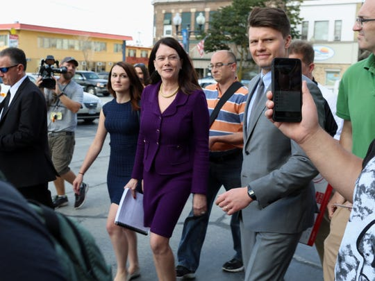 Steven Avery attorney Kathleen Zellner walks to the parking lot at the Manitowoc County Courthouse after filing a request for evidence to be retested in the Avery case on Aug. 26, 2016 in Manitowoc.