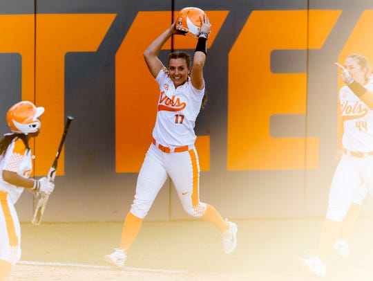 Tennessee infielder Chelsea Seggern (17) reacts after