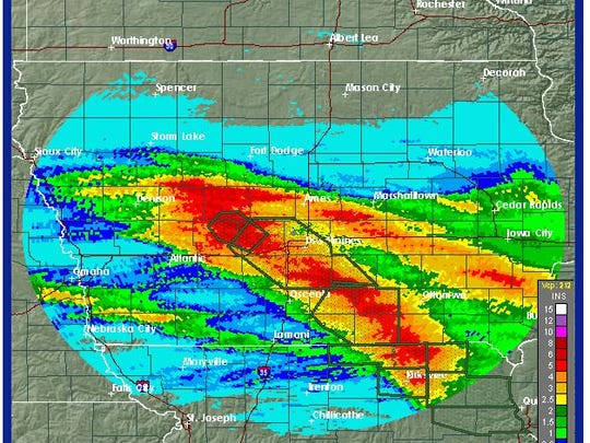Rain fall totals in Central Iowa between 10:23 p.m. Tuesday and 4:39 a.m. Thursday.