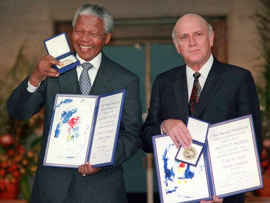 In this Dec. 10, 1993 file photo, South African Deputy