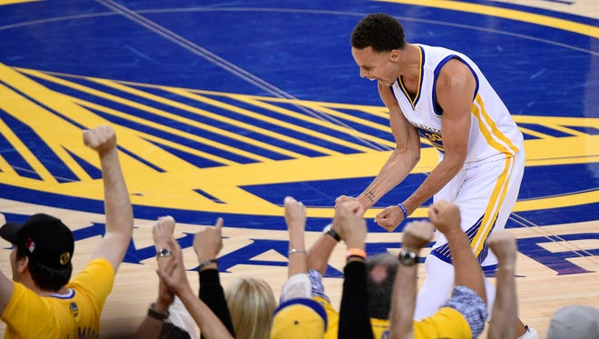 Golden State Warriors guard Stephen Curry (30) reacts during the fourth quarter against the Cleveland Cavaliers in game five of the NBA Finals at Oracle Arena.