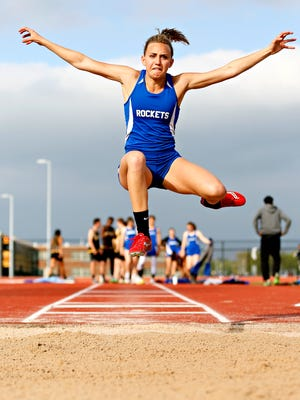 Spring Grove's Zoe Stauffer competes in the long jump during tri-track action against Red Lion and York High at Papermakers Stadium in Spring Grove, Wednesday, April 26, 2017. Dawn J. Sagert photo