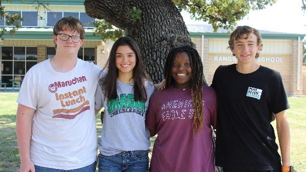 Bangs High School junior representatives in the homecoming court are, from left, Robert Blakeley, Rachel Solis, Shumara Finley and Mason Eppler.