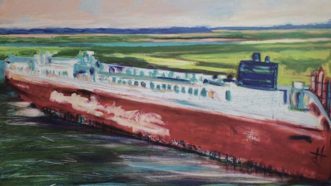 To be auctioned during online auction ARTrageous by St. Vincent's Academy. Cargo ship print on canvas by Ann Lindsay Lutz, courtesy of St. Vincent's.