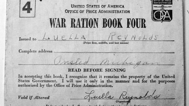 This ration book was issued to Luella Reynolds of Onsted during World War II, limiting items she could buy, from sugar and lard to fuel.