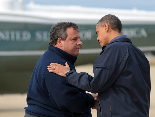 President Obama is greeted by New Jersey Gov. Chris