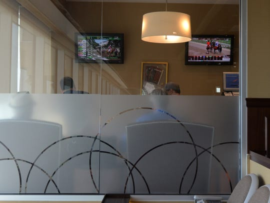 View of the bettors at the Meadowlands Racetrack this