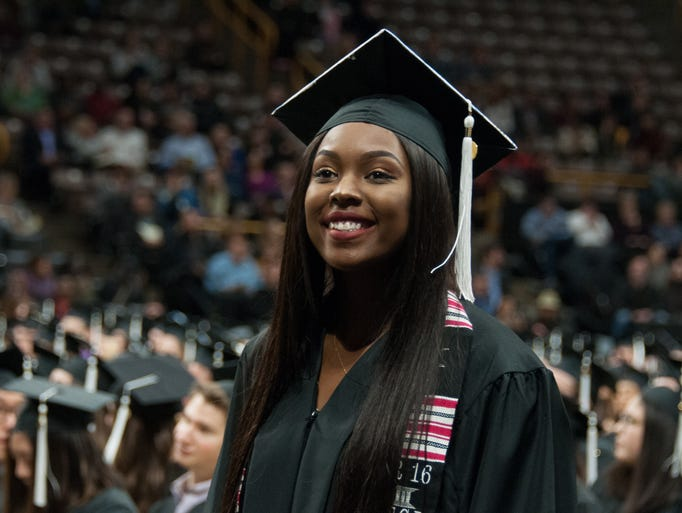 New graduate of the University of Iowa, JaMaya Austin,