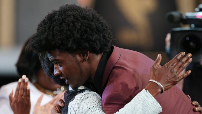 Josh Jackson (Kansas) reacts after being introduced as the number four overall pick to the Phoenix Suns in the first round of the 2017 NBA Draft at Barclays Center.