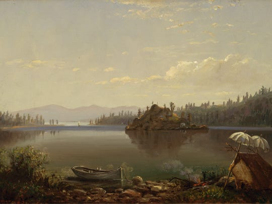 """Hiram Reynolds Bloomer, """"Untitled (Emerald Bay, Lake Tahoe),"""" 1873, Oil on canvas, 12 x 20 inches, Collection of Oakland Museum of California, Gift of Mrs. Albert Steele. This painting is currently on view at the Nevada Museum of Art in downtown Reno as part of """"Tahoe: A Visual History."""""""