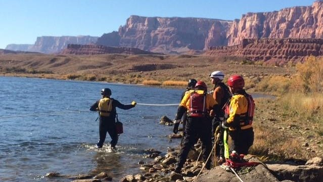 Washington County Search and Rescue team members participate in swift water rescue training near Lees Ferry in November 2015.