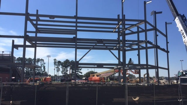 Construction continues Monday on UL's baseball field.