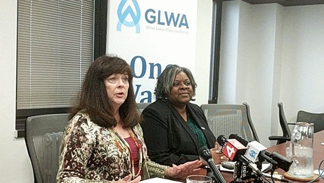 Great Lakes Water Authority CEO Sue McCormick, left, and authority Chief Operating Officer Cheryl Porter, address the Oakland County water main break at a press conference Tuesday at authority headquarters in Detroit.