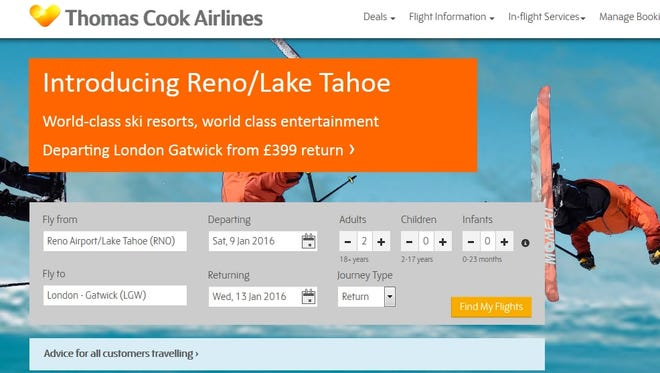 The website of Thomas Cook Airlines touts its upcoming Reno flights that are scheduled to launch in December 2015.