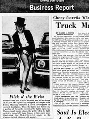 "This ""sneak peak"" at the all-new Chevrolet Camaro ran in the Free Press August, 17, 1966 -- 50 years ago today and a month before the car went on sale. Developed to compete with Ford's runaway-hit Mustang, the Camaro was so new that nobody knew how to pronounce the name -- as witness the caption's incorrect tip that ""Camaro...rhymes with arrow."""