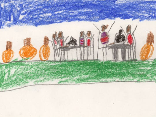 """""""How to cook a turkey"""" drawing by Albany Elementary kindergartner Teagon."""