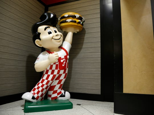 A newly rebranded Big Boy statue at the new Frisch's Big Boy location at Carew Tower in downtown Cincinnati on Monday, June 4, 2018.