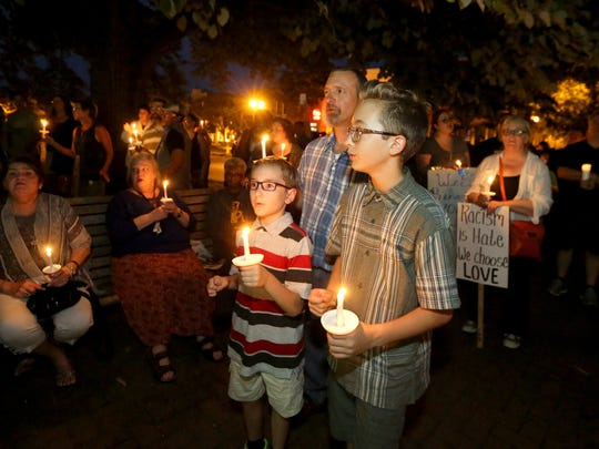A peace rally was held at the steps of the Rutherford County Courthouse on Sunday, Aug. 13 ,2017, in response to recent violent events in Charlottesville, Virginia, on Saturday.