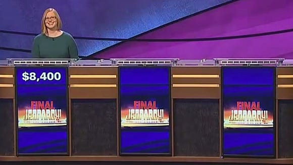 One is the loneliest number: Glasgow's Kristin Sausville competes in the Final Jeopardy! round by herself in March.