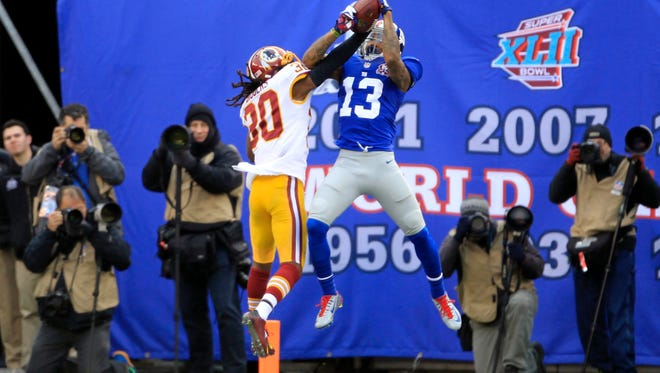 Giants receiver Odell Beckham Jr. continued his hot ways Sunday with three touchdown catches.
