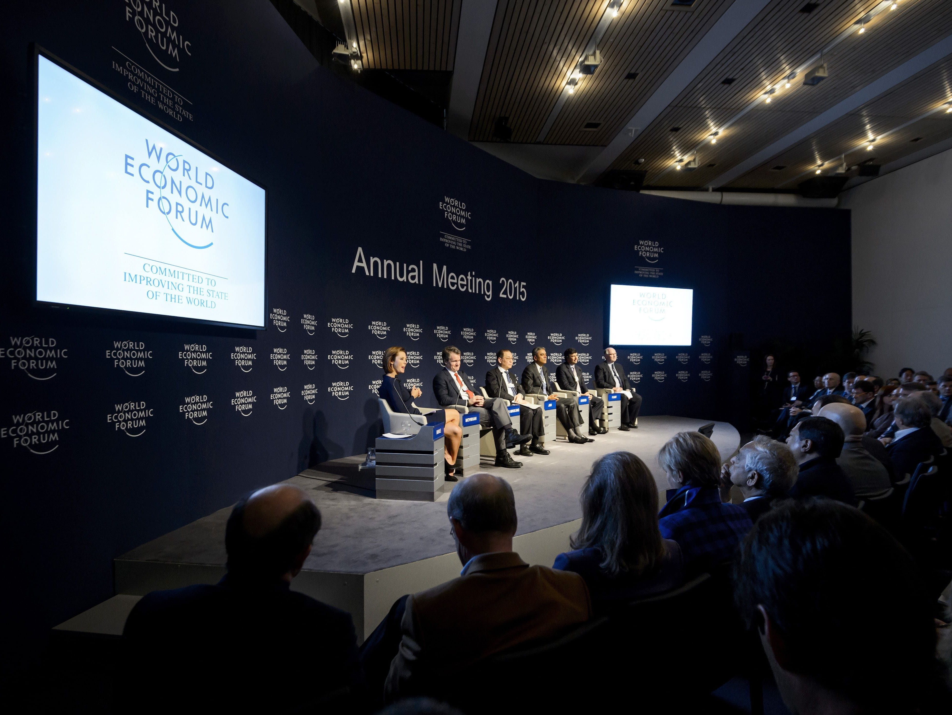 Participants attend a discussion at the World Economic Forum annual meeting on Wednesday in Davos.