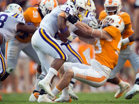 Tennessee linebacker Colton Jumper (53) tackles Tennessee Tech running back Yeedee Thaenrat on Saturday, November 5, 2016.