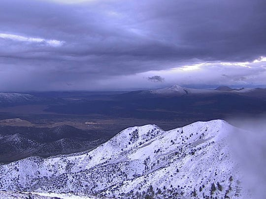 This photo from the Nevada Seismological Laboratory's Alert Tahoe fire camera system shows snow on TV Hill looking toward White Mountain. Shot on Sept. 21, 2017.