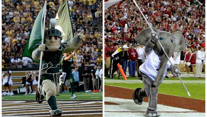 MSU mascot Sparty and Alabama's mascot Big Al