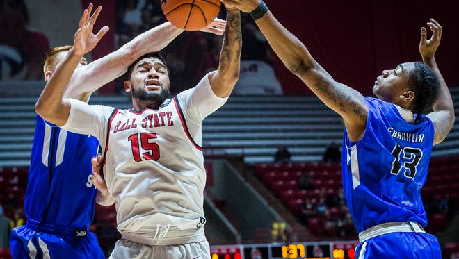 Ball State's Franko House struggles against Indiana State's defense during their game at Worthen Arena Tuesday, Nov. 15, 2016.