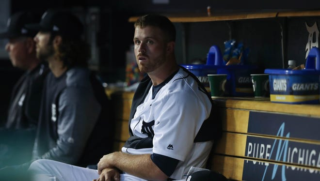 Tigers' Buck Farmer sits in the dugout during the sixth inning against the Angels on Wednesday, June 7, 2017 at Comerica Park in Detroit.