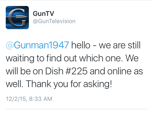 A screen capture of a Gun TV tweet shows the network confirming it will appear on the Dish Network. This tweet has since been deleted.